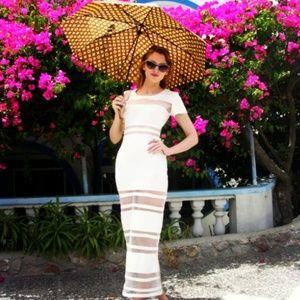 NASTY GAL Cream Mesh Paneled Petite Maxi Dress XXS
